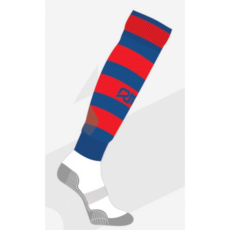 Chaussettes de rugby NODZ Royal/Rouge, par RTEK